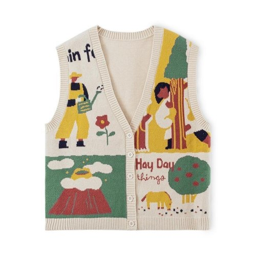 Harajuku Women Knitted Vest Single-breasted V-neck Ladies Loose Soft Tops Waistcoat
