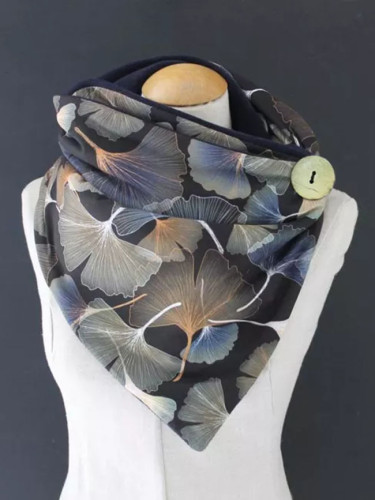 Women Casual Printing Scarf Fashion Retro Multi-purpose Shawl Button Scarf