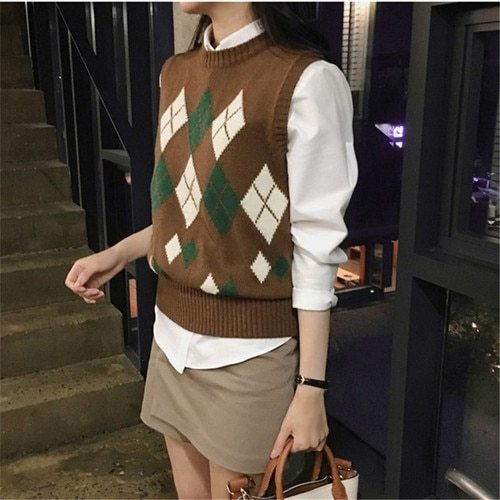Sweater Women Autumn Vintage Geometric Rhombic Sleeveless Vest Knitted Pullover