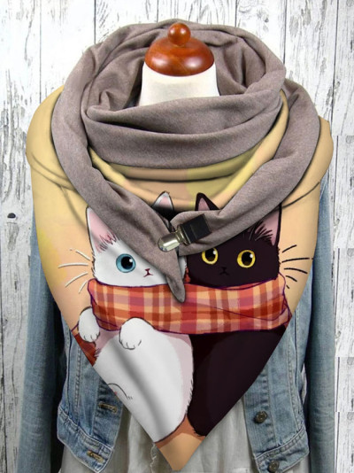 Warm Windproof Cat Prints Double-layer Buckle Scarf Women Winter Scarf