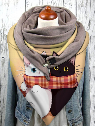 Warm Windproof Cat Prints Double-layer Buckle Scarf Women Winter Scarf