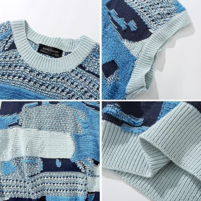 Patchwork Knit Sweater Vest Sleeveless Jumper