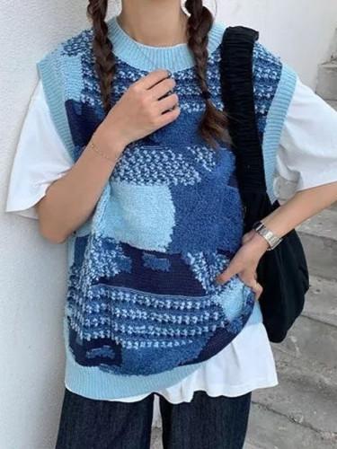 Patchwork Knit Sweater Vest Sleeveless Jumper