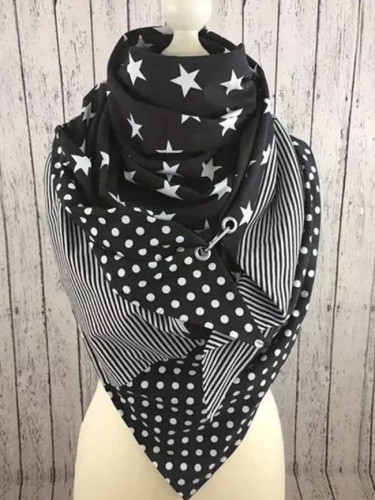 Women Star Dot Stripe Printing Scarf Button Soft Warm Scarves Cycling Face Bandana