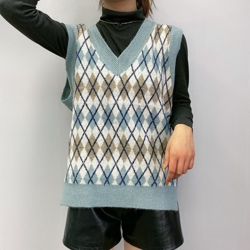 Fashion geometric rhombic knitted vest sweater V neck sleeveless casual tops