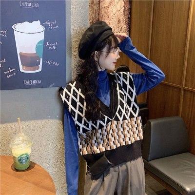 Sweaters vest v-necked Geometric Vintage Plaid Sleeveless Jumper