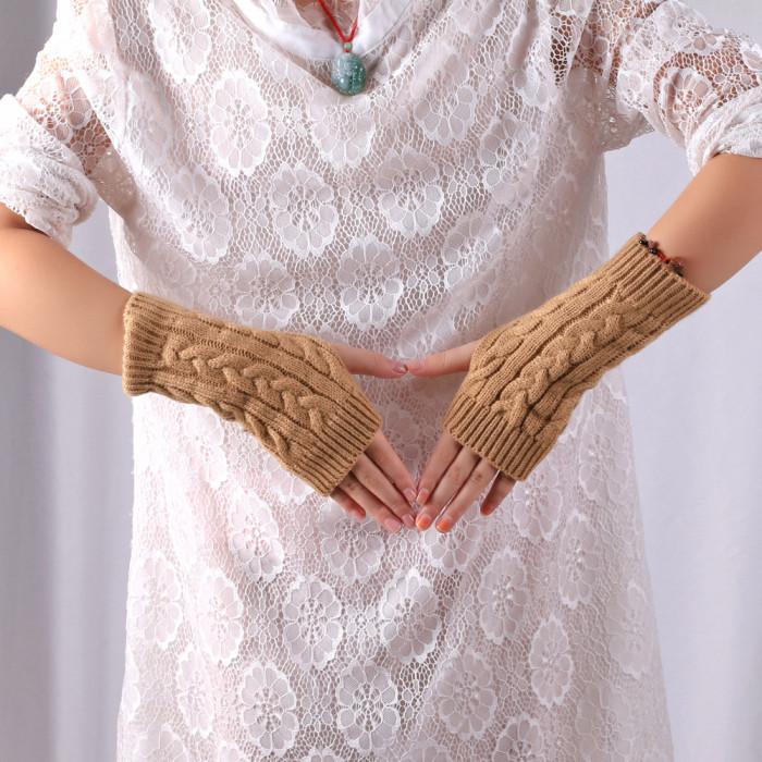 Winter Gloves Fingerless Gloves Knitted Women Hand Wrist Warmer Mittens