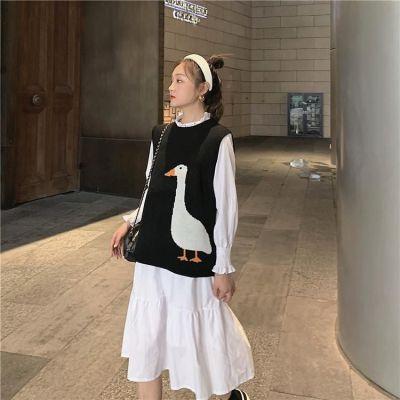 Women Knitted Sweater Vest Autumn Winter Vintage Goose Pattern Sleeveless Waistcoat