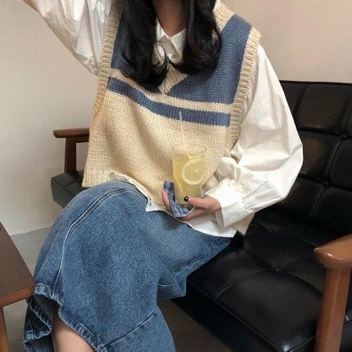 Striped Sweater Vest Sleeveless Tank Top Harajuku Chic V-necked Knit Sweater