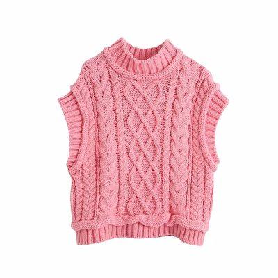 Pink Sweater Vest Women Knit Sleeveless Knits Cropped Sweater Tank