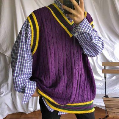 Sweater Vest Patchwork V-neck Sleeveless Knitted Tops Oversize Harajuku All-match