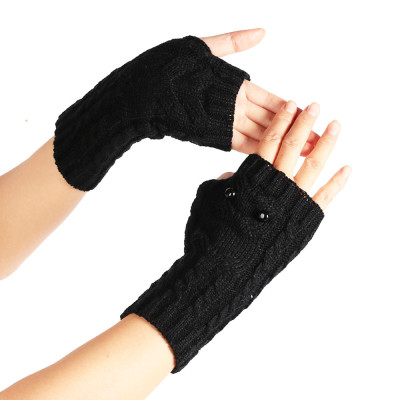 Owl woolen gloves knitted leaky fingers autumn and winter warm fashion gloves