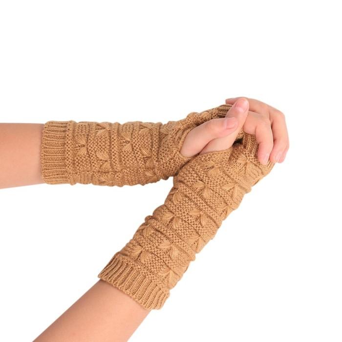 Unisex Gloves Knitted Fingerless Autumn Winter Outdoor Warm Half Finger Cycling Gloves