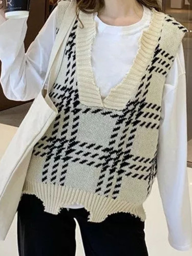 Vintage Sweater Vest Plaid Fall Winter V-necked Sleeveless Pullover Jumper Knit Tops