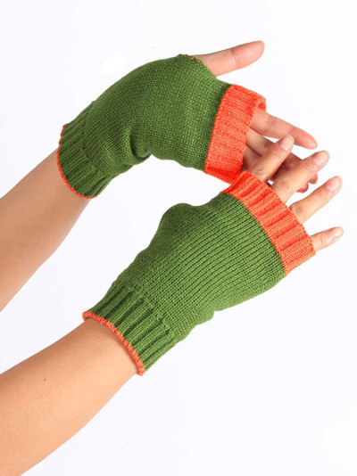 Fingerless Thick Gloves Color Blocking Half Finger Warm Color Wristband