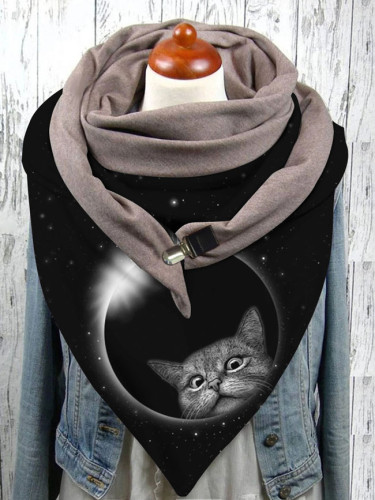 Warm Windproof Cat Prints Double-layer Buckle Scarf Fashion Female Scarf