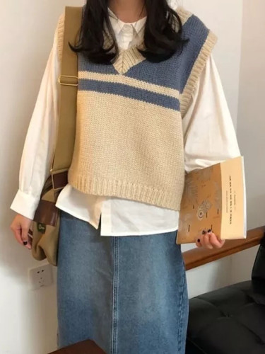 Striped Sweater Vest Sleeveless Tank Top Harajuku Chic V-necked Knit Sweater