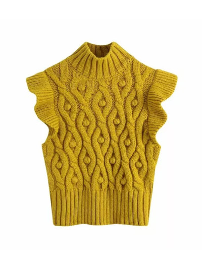 Yellow Pompoms Knitted Sweater Vest Women Vintage Ruffles High Neck Vest Tops