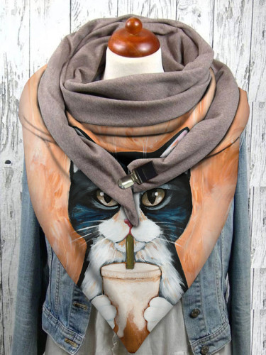 Universal Autumn Winter Warm Windproof Cat Prints Double-layer Buckle Scarf