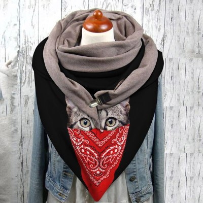 Double-layer Buckle Scarf Autumn Winter Warm Windproof Cat Prints