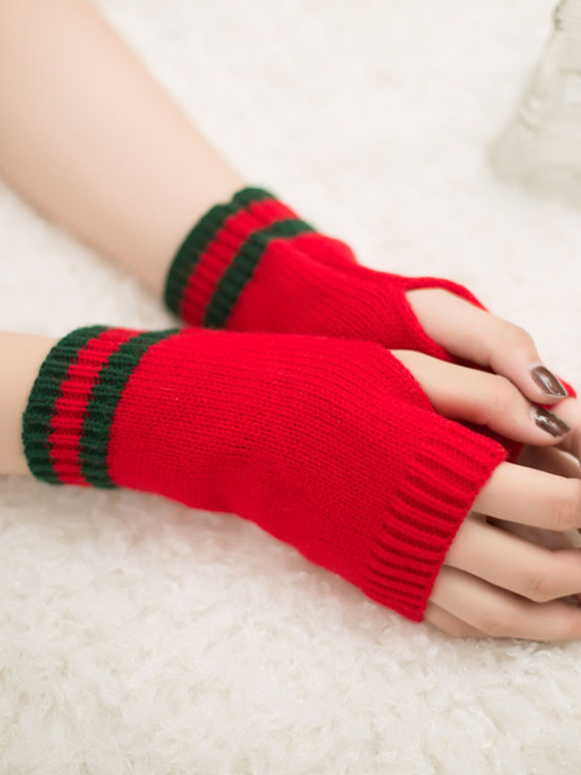 New style striped woolen half finger gloves candy color warm gloves