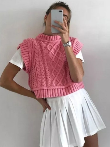 Pink Sweater Vest Women Knit Sleeveless Knits Cropped Sweater Tank