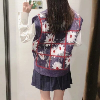 Purple Floral Ribbed Trims Knitted Sweater Vest  V Neck Sleeveless Loose Casual Tops
