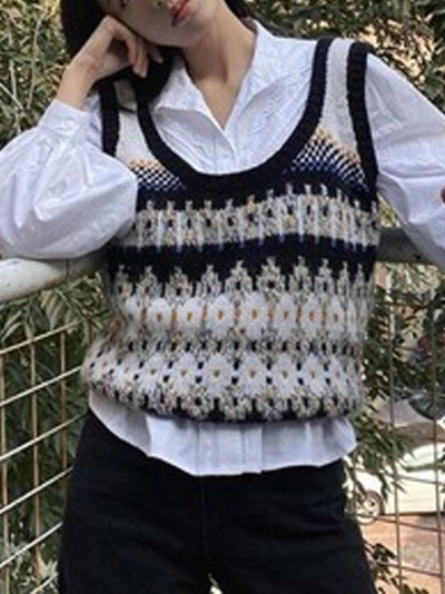 Women Vintage Oversized diamond check vest knit casual Sleeveless Waistcoat