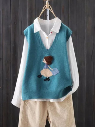 V-neck Knitted Sweater Vest Cartoon Embroidery Pattern Sleeveless Simple Fashion Sweater Vest