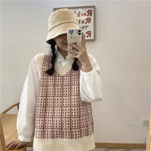 Knit Plaid Sweater Vest V-necek Pullover Casual Winter Fashion Sweaters
