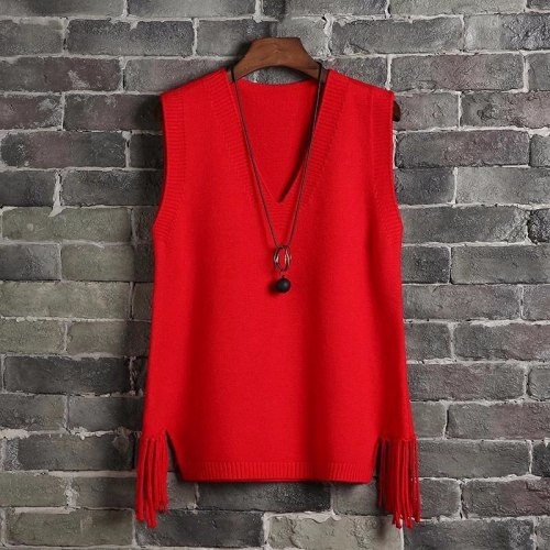 V-neck Sweater Vest Women Casual Loose Fringed Knitted Halter