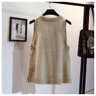 V-neck Loose Sweater Vest Sleeveless Ruched Solid Color Fashion Pullover Sweater Vest