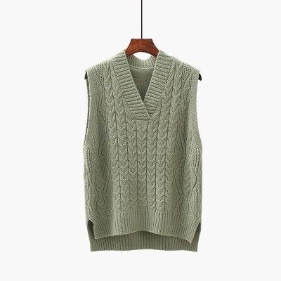 Twist pullover sweater vest women autumn new V-neck wool knitted vest women