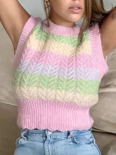Sweater Vest New O Neck Autumn Short Knitted Women Vest Sleeveless Sweater