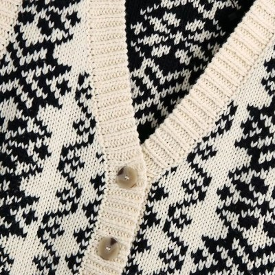 New Winter Women Knit Cardigan Sweater Vest Fashion Vintage knitted top