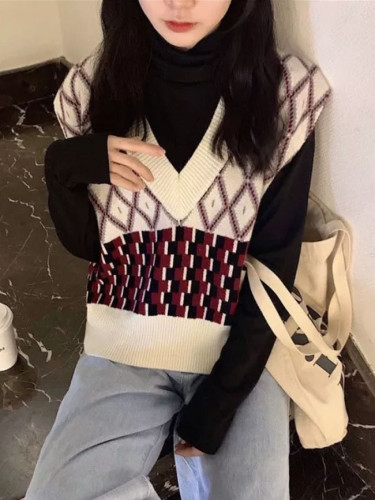 Women Sleeveless Pullover Winter Vintage Geometric V Neck Knit Sweater Vest