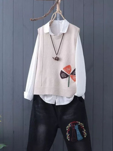 Literature and Art Fan Knitted Sweater Vest Female Sleeveless Embroidery Sweater Vest