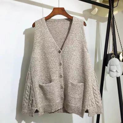 V-neck Pocket Knitted Sweater Vest Single-breasted Sleeveless Solid Color Sweater Vest