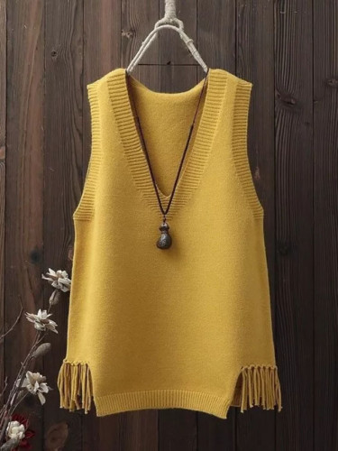 V-neck Sweater Vest Women Casual Loose Fringed Knitted Halter