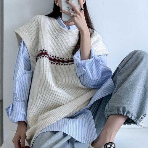 Sweater Vest Women Sweaters New Prep Tops Harajuku Oversize knit Vest