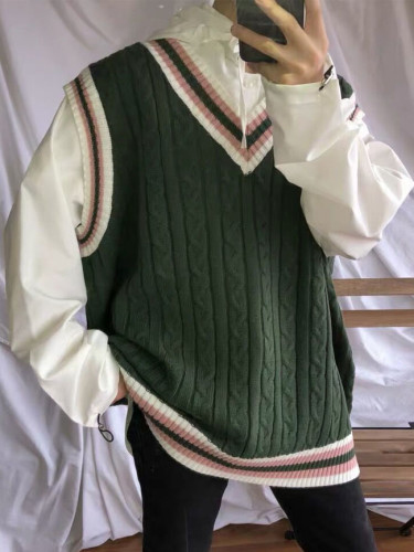 Sweater Vest Patchwork V-neck Sleeveless Knitted Tops Oversize Harajuku All-match