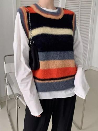 Mohair Sweater Vest Women Sleeveless Waistcoat Autumn Winter Striped Vests