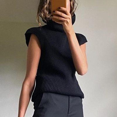 Vintage Turtleneck Knitted Sweater Vest Women Sleeveless Knitwear Vest Knit Tops