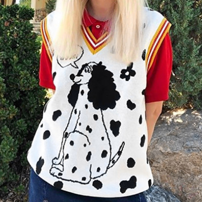 Letters Cartoon Dog Women Winter Sweaters Sleeveless thick Knit Vest Pullover V Neck Loose