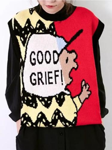 Knitted Sweater Vest Women Fall Winter Cute Cartoon Sleeveless Pullover