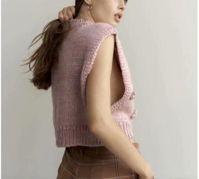 Hand-made floral Waistcoat Sweater Kintwear Vest Sleeveless Sweet Style