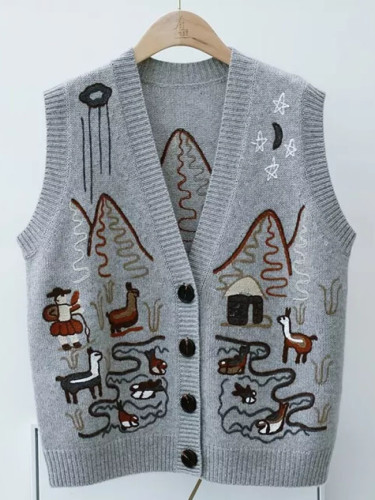 Sweater Vest Women Autumn Winter Single-breasted waistcoat knitted Vest