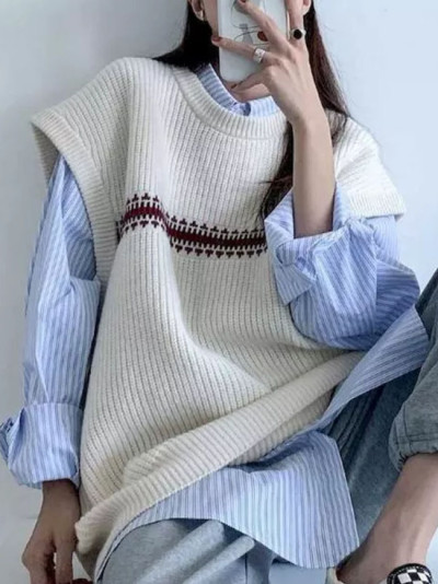 Sweater Vest Women Sweaters New Prep Tops Harajuku Oversize knit Vest