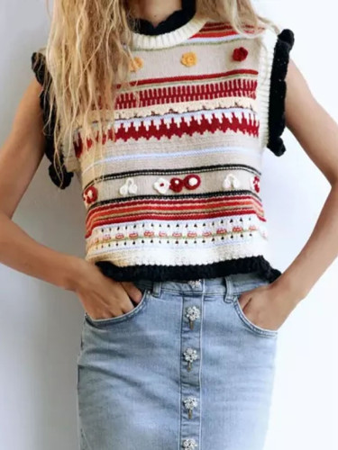 Fashion Flower-shaped Texture Knitted Vest Sweater Vintage O Neck Sleeveless Tops