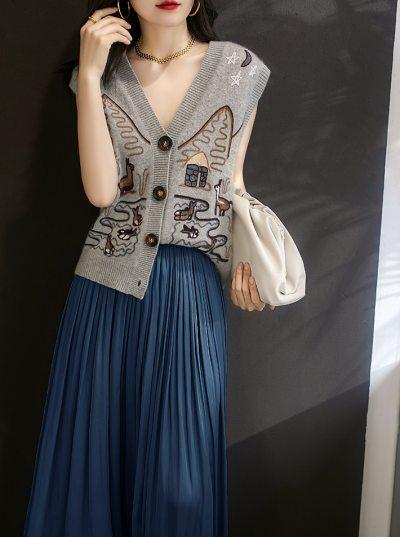 Sweater Vest Women Autumn Winter Single-breasted waistcoat knitted Vest